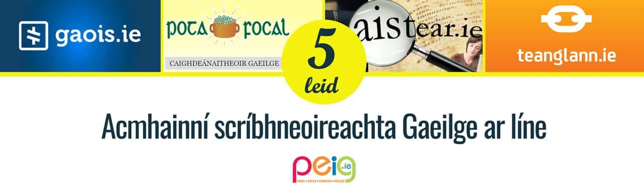 Acmhainní scríbhneoireachta Gaeilge ar líne